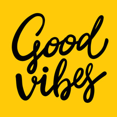 Good Vibes hand drawn vector lettering.