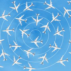 Aviation industry with group of airplane.Traffic management
