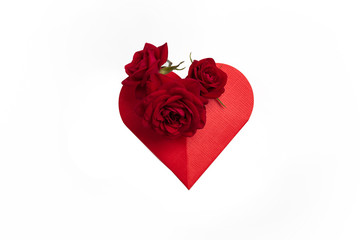 Red Rose heart isolated on white background, top wiew. Paper heart with rose, isolate in a white background.