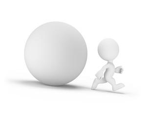 Fototapeta 3d person runs away from the orb obraz