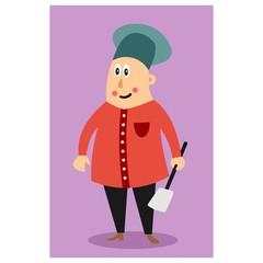 funny chubby chef holding spatula cartoon character