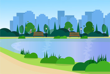 city park wooden bench street lamp river green lawn trees on city buildings template background flat vector illustration