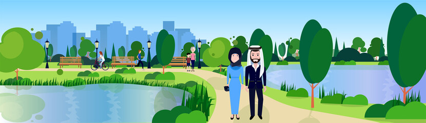 public park couple arabic man woman relax wooden bench outdoors river green lawn trees on city buildings template background flat banner vector illustration