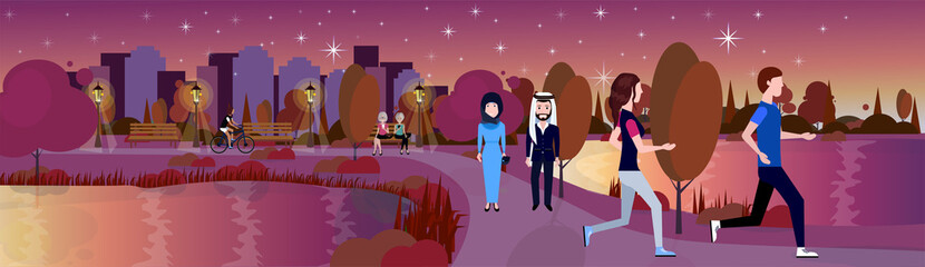city night park mix race arab couple walking relax river lawn trees template background flat banner vector illustration