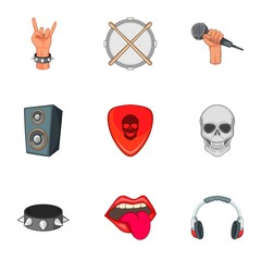 Music festival icons set. Cartoon set of 9 music festival vector icons for web isolated on white background