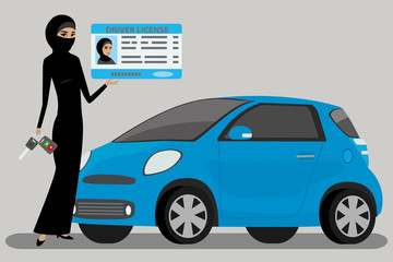 arabic woman with Driving license and car key,muslim female and  modern blue car