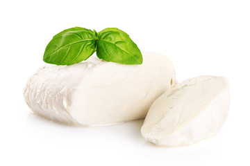 Mozzarella and basil isolated on white background.