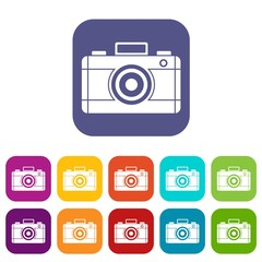 Photo camera icons set vector illustration in flat style in colors red, blue, green, and other