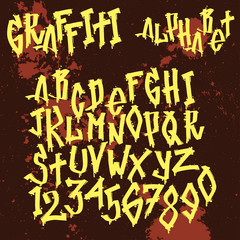 Hand drawn grunge font paint symbol design detailed vector alphabet graffiti text brush graphic ink.