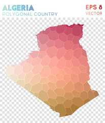 Algeria polygonal map, mosaic style country. Extraordinary low poly style, modern design. Algeria polygonal map for infographics or presentation.