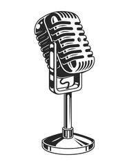 Retro monochrome music microphone concept