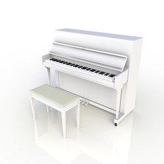 Side view of classic musical instrument white piano isolated on white background, Keyboard instrument, 3d rendering