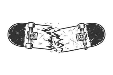 Vintage monochrome broken skateboard template