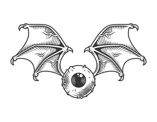 Vintage eye with wings concept
