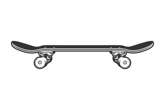 Monochrome sport skateboard side view template