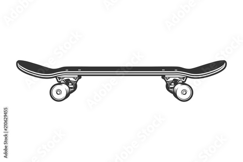 monochrome sport skateboard side view template stock image and