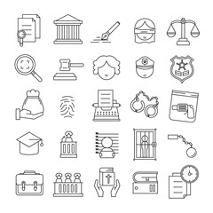 Justice,Court,Law Line Icon set