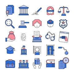 Justice,Court,Law Line Icon set