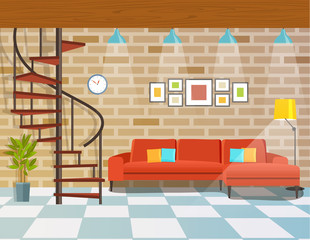 Living room with sofa and circular staircase.  Loft interior. Vector flat style illustration