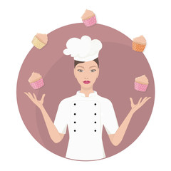 beautiful master chef woman juggles with cupcakes. concept vector illustration.
