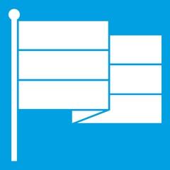 Black flag icon white isolated on blue background vector illustration