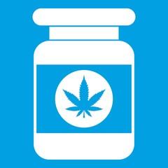Jar of powder marijuana icon white isolated on blue background vector illustration