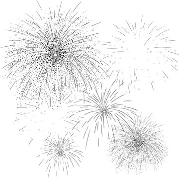 Black firework sketch on white background.