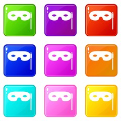 Carnival mask icons of 9 color set isolated vector illustration