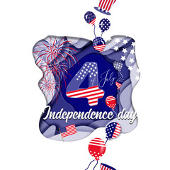 celebration card design for USA independence day