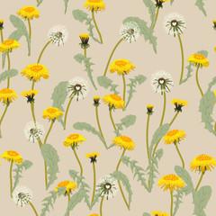 Trendy floral pattern of yellow dandelions flowers and green leaves.Outline botanical elements scattered random.Seamless vector texture for fashion prints.