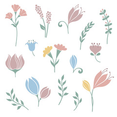Set of cute flowers, grasses and floral design elements