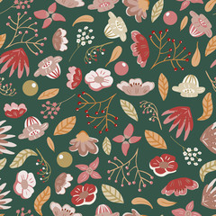 Meadow. Wildflowers pattern. Hand drawn Floral pattern. Seamless vector texture. Elegant template for fashion prints. Surface with meadow flowers and herbs. dark background