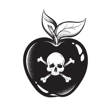Poison apple line art and dot work hand drawn vector illustration. Boho style sticker, patch, print or blackwork flash tattoo design.