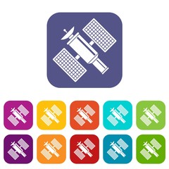 Space satellite icons set vector illustration in flat style in colors red, blue, green, and other