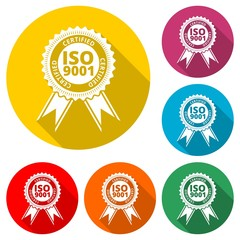 ISO 9001 certified sign icon, color icon with long shadow