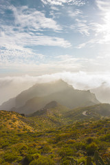 Stunning landscape mountain view in deep canyon on a paradise island. Beautiful golden hour sunrise sunset soft light. Travel photo, postcard. Masca, Tenerife, Canary Islands