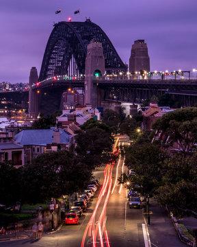 Sydney Harbour Bridge Traffic trails