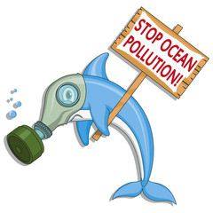 Ocean pollution concept. Dolphin asks stop the pollution of the ocean. Vector graphics to design.