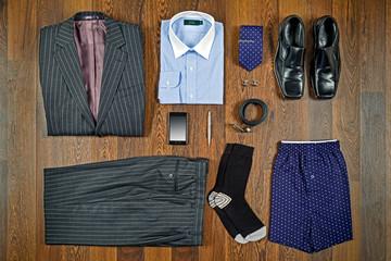 Business attire flat lay