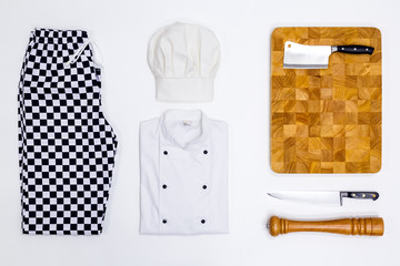 Chef whites flat lay