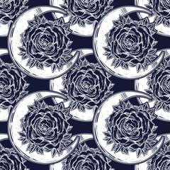 Rose inside a crescent moon ornate seamless pattern