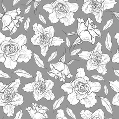 Seamless pattern of black and white graphic roses. vector illustration.