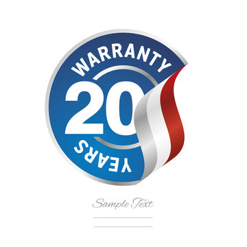 20 Years Warranty blue icon stamp vector