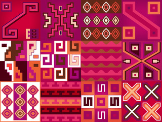 Aztec Chile. Language as pattern. Seamless background texture in boho style.