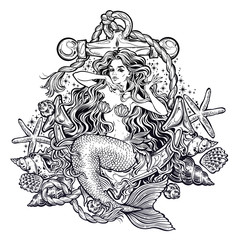 Hand drawn artwork of beautiful mermaid girl sitting on the anchor with seashells