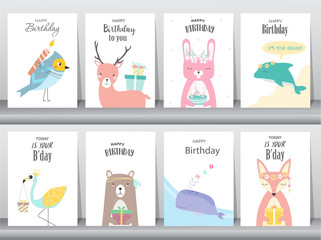 Set of birthday invitations cards, poster, greeting, template, animals,rabbit,cake,stork,goose,whale,birds,deer,Vector illustrations