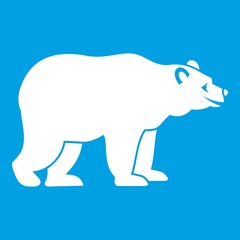 Bear icon white isolated on blue background vector illustration