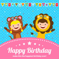 birthday card greetings with kids in animal costume
