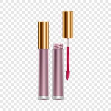 Purple lip gloss mockup. Realistic illustration of purple lip gloss vector mockup for web