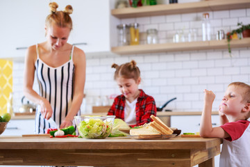 Picture of beautiful woman with her daughter and son cooking food in kitchen